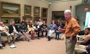 Jamestown area resident and former Roger Tory Peterson Institute director Jim Barry speaks during the Prendergast Library's public input session on Thursday, Oct. 8, 2015.