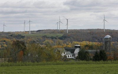 A wind farm in Wyoming County, NY gives an idea of the size and scope of the turbines that may soon be put in place in Villenova and Hanover. (Photo from the Buffalo News)