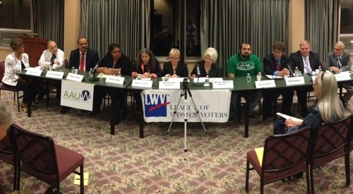 Candidates for Jamestown City Council attend the League of Women Voters' Meet the Candidates Forum on Oct. 22, 2015.