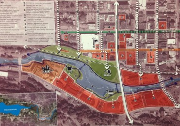 One of the maps that AECOM incorporated into is strategic development plan for downtown Jamestown, NY.