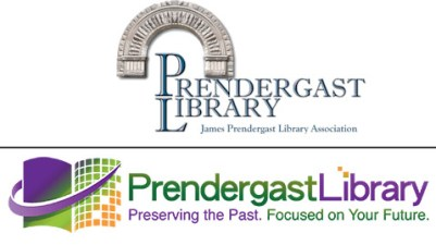 """The current Prendergast Library logo (top) and the new logo design that was reviewed by the board on Jan. 21, 2016. The board approved the new logo, although the tagline """"Preserving the Past. Focused on the Future."""" will likely be revised in February."""