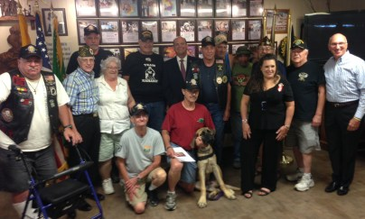Congressman Tom Reed with a group of Veterans at the Vietnam Veterans of America club in Jamestown, NY on Friday, Aug. 12, 2016.