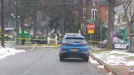 Authorities investigate the crime scene following a shooting death that took place early Thanksgiving Morning on S. Main St. in Jamestown, NY. (Image Courtesy of 716 Network/Facebook)