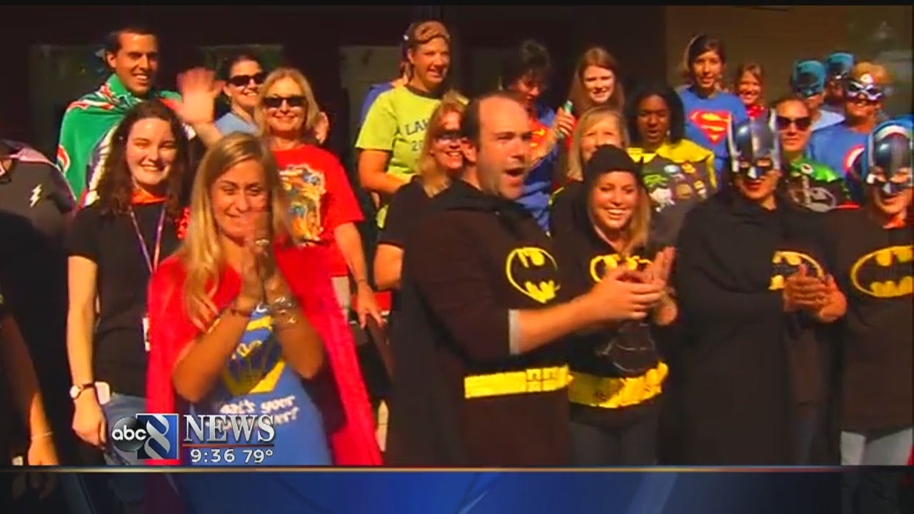 Group of local teachers disguised as superheroes surprise