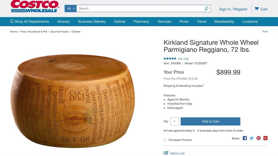 Costco selling 'extravagant' 72-pound wheel of cheese   8News
