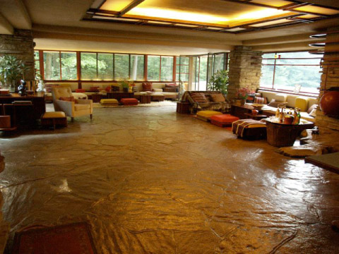 living room at fallingwater