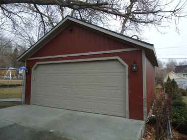 red detached garage