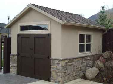 stucco and rock orchard shed