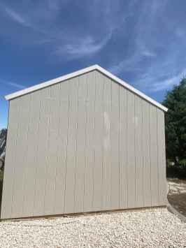 white roof trim on grey shed
