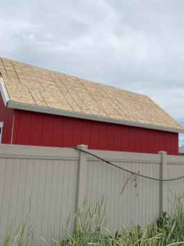 trim on red shed