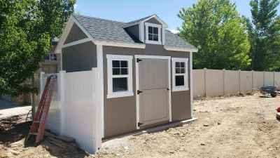 Kaysville Shed with dormer over door - Wright Shed Co.