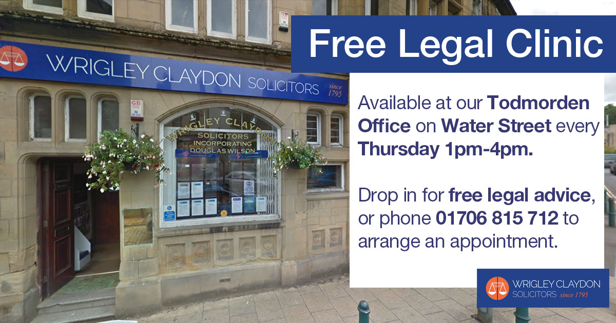 Wrigley Claydon Solicitors Todmorden Free Legal Clinic