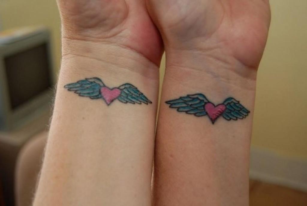 Wrist Tattoos Heart Angel Wings