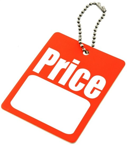 price tag with copy space isolated on white