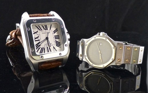 100th Ann. Cartier Santos on left, '80s version on right