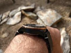 """The swooping lugs help the 42 mm Spinnaker Spence SP-5039 sit perfectly on the author's 7"""" wrist."""