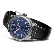Navitimer 8 Automatic with blue dial and black leather strap. (PPR/Breitling)