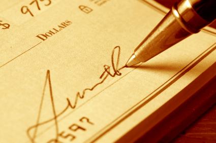 Beispiel, wie man einen Scheck schreibt
