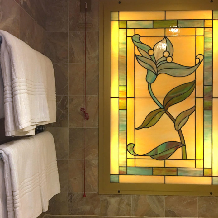 bathroom, window, leadlight, sun princess, cruise ship