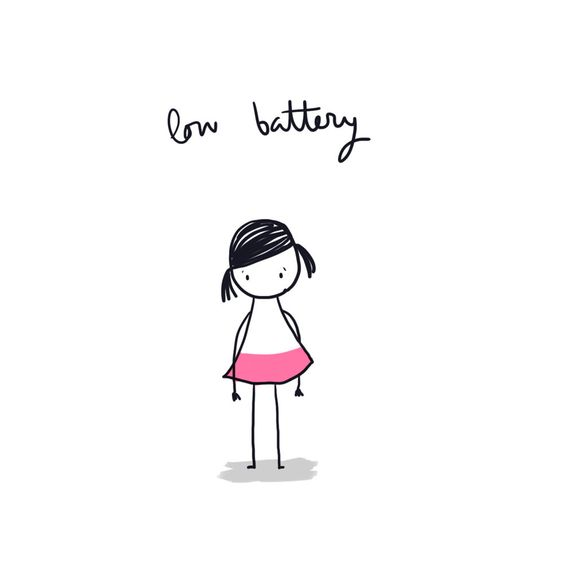 low battery, tired, exhausted