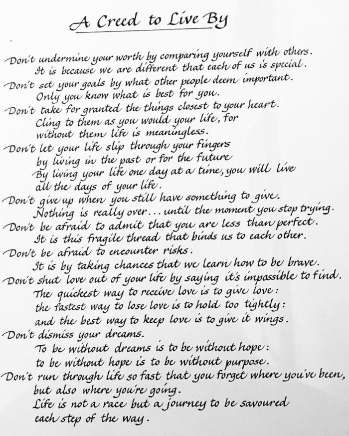 creed, words, life