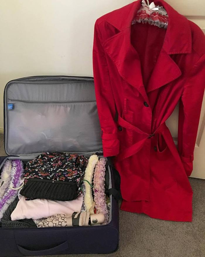 trench coat, fashion, packing, suitcase, red trench coat, coat, red coat