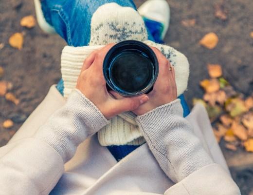lady, coffee, park, bench, autumn