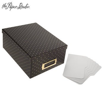 Black & Gold Foil Polka Dot Photo Storage Box