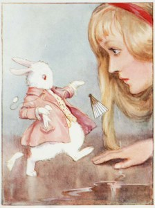 The White Rabbit only seems adorable in this illustration.