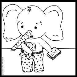 The elephant puts on some pajamas.