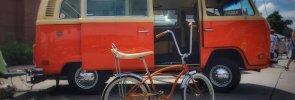 Volkswagon bus and Schwinn bicycle.