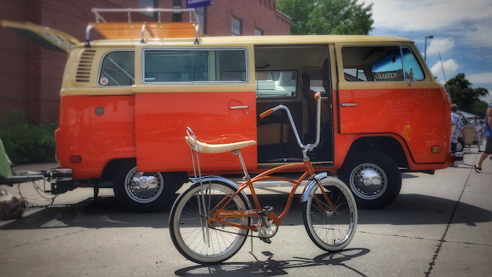 Volkswagon bus and Schwinn bicycle.