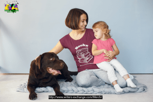 Book Addicts shirt on lady with child and dog