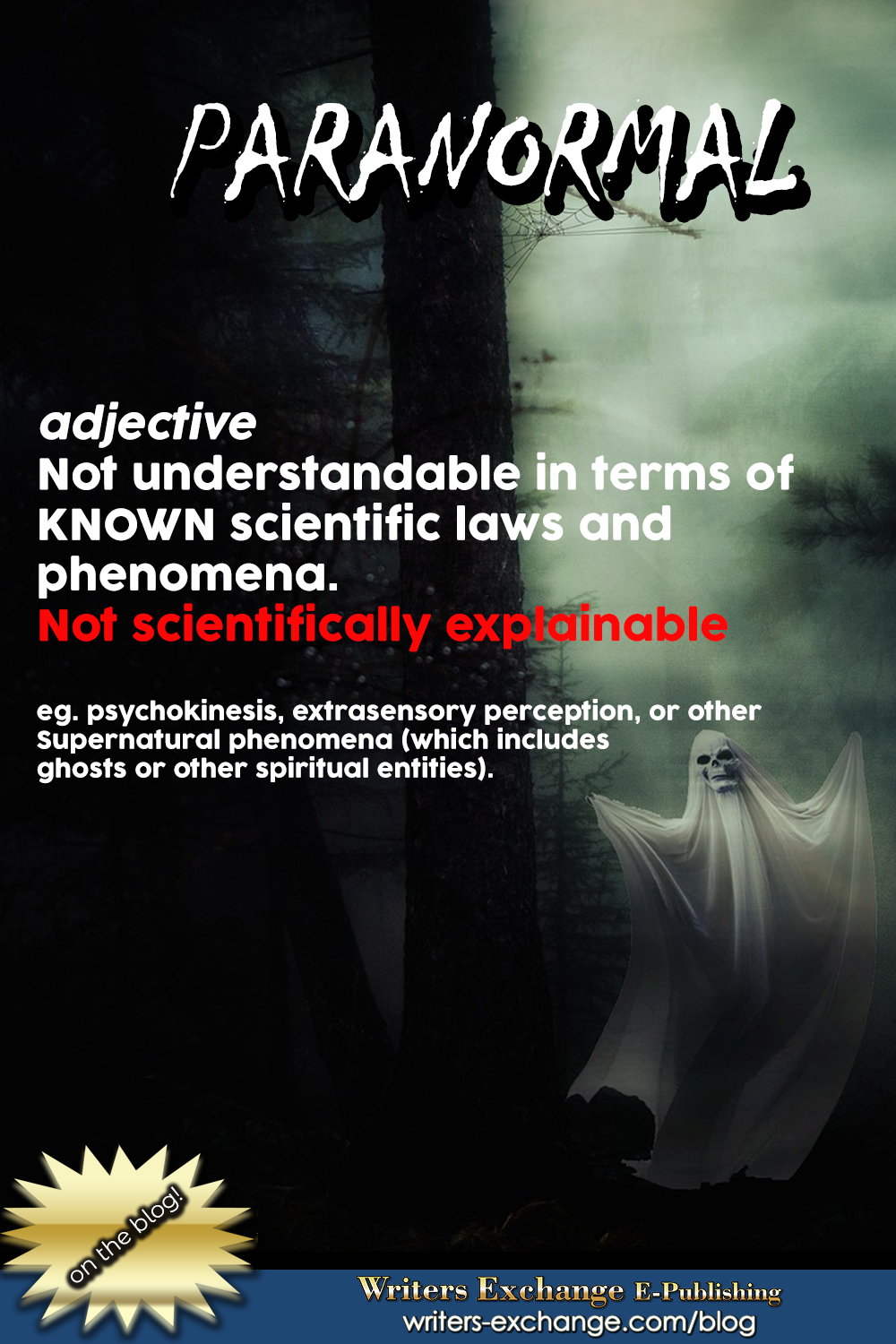 Paranormal definition vertical graphic