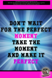 Don't wait for the perfect moment... Inspirational Quote