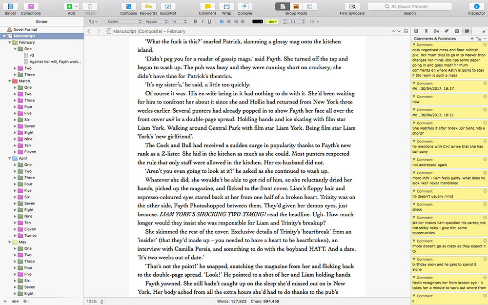 The writing interface of Scrivener.