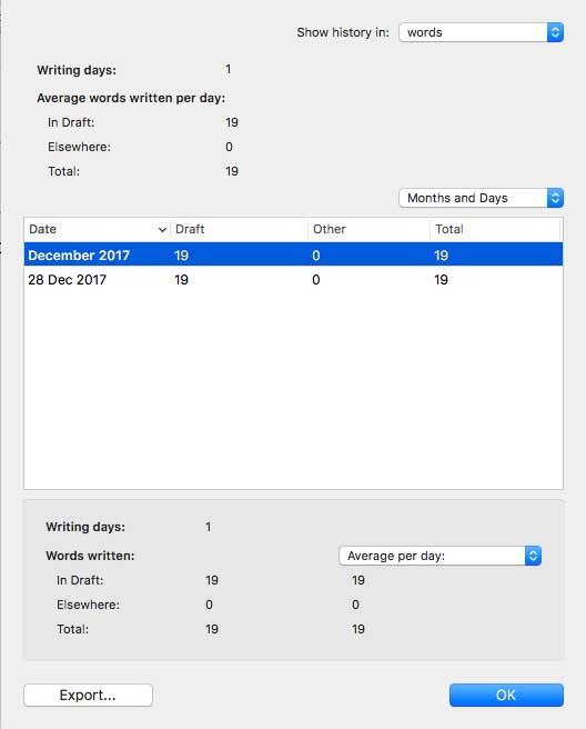 Scrivener 3 offers much more in-depth writing statistics.