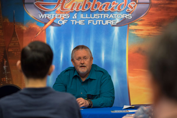 Orson Scott Card talking to the Writers of the Future Contest Winners at the Writers Workshop.