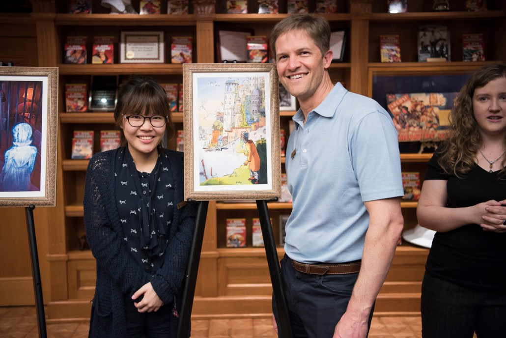 "With artist Chana Kim who did the illustration for his story, ""The Magnificent Bhajan"""