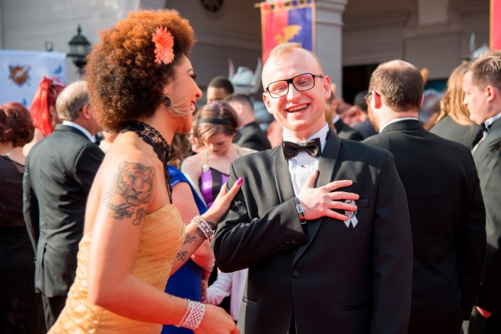 Michael Michera on the red carpet with singer Joy Villa