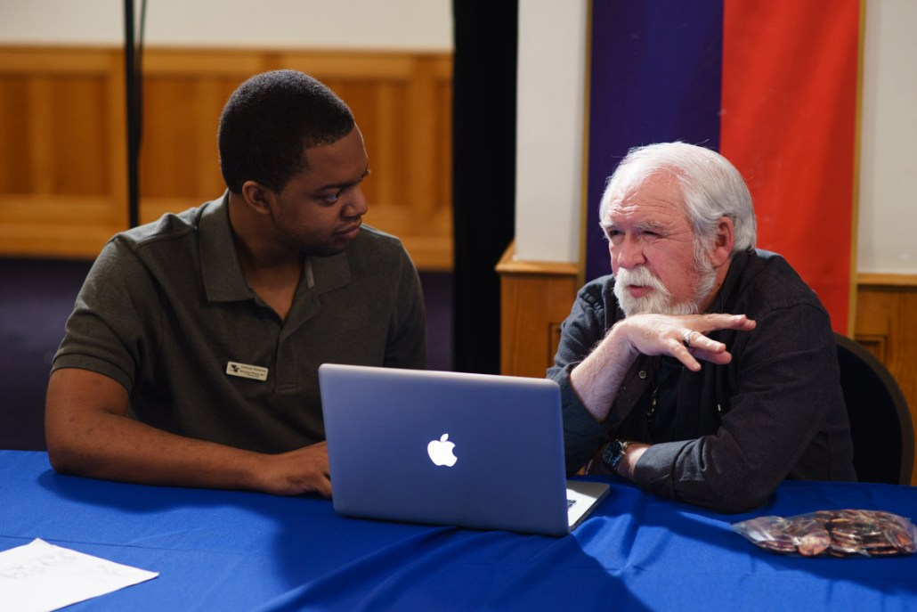 With artist Larry Elmore during the portfolio review.
