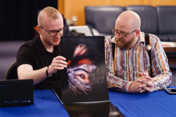 Lazarus with artist Mike Michera