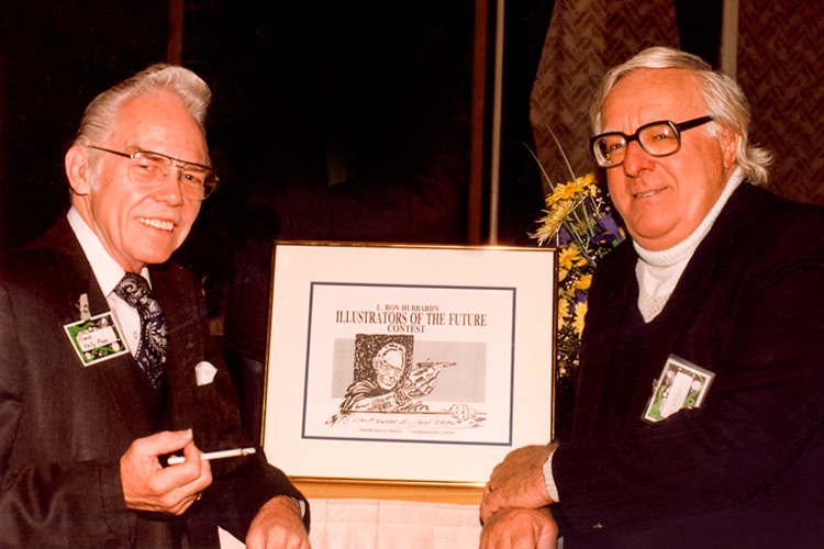 Frank Kelly Freas and Ray Bradbury at the inauguration of Illustrators of the Future