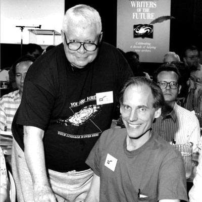 Algis Budrys and writer winner Bruce Hallock