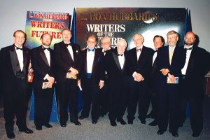 Judge presenters for the 1996 Awards ceremony: Dr. Doug Beason, Kevin J. Anderson, Dr. Jerry Pournelle, Larry Niven, Algis Budrys, Jack Williamson, Frederik Pohl, Tim Powers, Dr. Gregory Benford, Dave Wolverton.