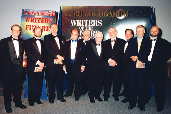 Judge presenters for the 1996 Awards ceremony: Dr. Doug Beason, Kevin J. Anderson, Dr. Jerry Pournelle, Larry Niven, Algis Budrys, Jack Williamson, Frederik Pohl, Tim Powers, Dr. Gregory Benford, Dave Wolverton.