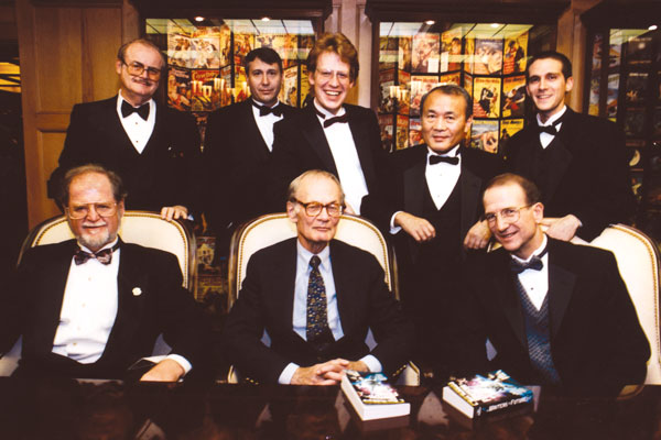 The reception after the Awards. Front row: Larry Niven, Dr. Robert Jastrow, Dr. Doug Beason; back row: Dr. Jerry Pournelle, Don Solosan, G. Scott Huggins, Dr. Yoji Kondo and Gregory Janks.