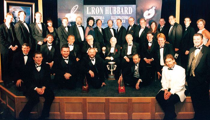 The Writers and Illustrators of the Future winners and attending judges for 1999.