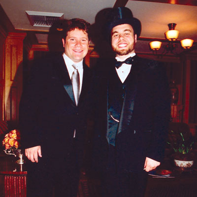 Sean Astin and Patrick Rothfuss puttin' on the Ritz.