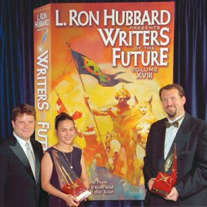 Sean Astin with Gold Award winners Irena Yankova Dimitrova (illustrator) and Dylan Otto Krider (writer) at the formal release of Writers of the Future Volume XVIII